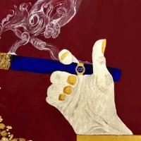 Carpe Diem - 50x70 - colori chimerici, cristalli di quarzo, foglia d'oro, carboncino