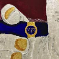 Carpe Diem - particolare - 50x70 - colori chimerici, cristalli di quarzo, foglia d'oro, carboncino
