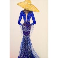 Ricami di donna blu cobalto