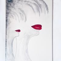 Bocche-rosse_70x100_matita-carboncino-e-acrilico-su-tela-_Anno-2011