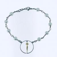 Bracciale catena con perle e cerchio Silhouette in argento 925