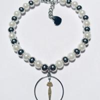 Bracciale con perle, sfere acciaio e cerchio Silhouette in argento  925