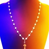 Collana a catenella con perle e pendente Silhouette in argento 925