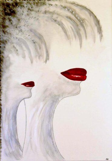 Bocche rosse - Acrilico su tela