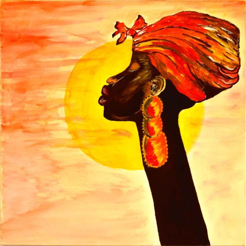 Africa, volto di donna - Acrilico su tela