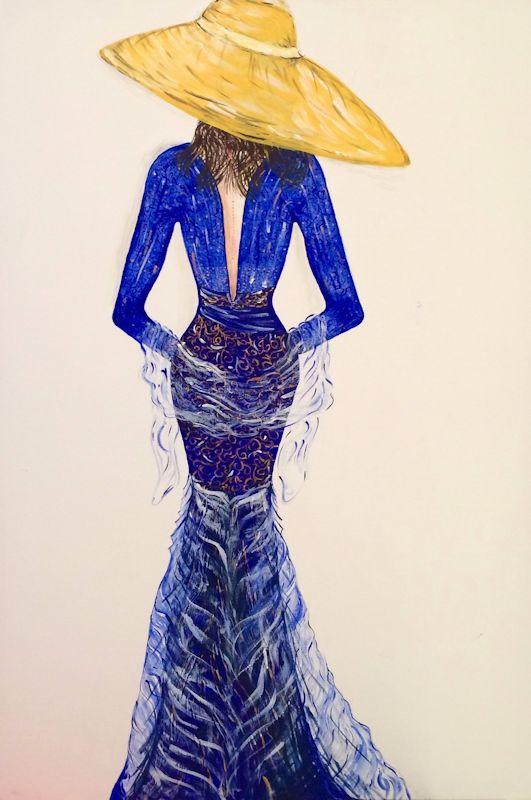 Ricami di donna blu cobalto - Acrilico su tela