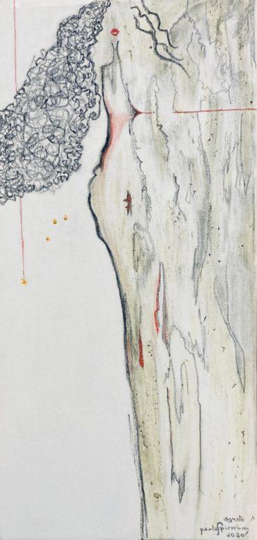 Il dolore_20x40_carboncino matite surfinia su tela_Agosto 2020_origine verticale