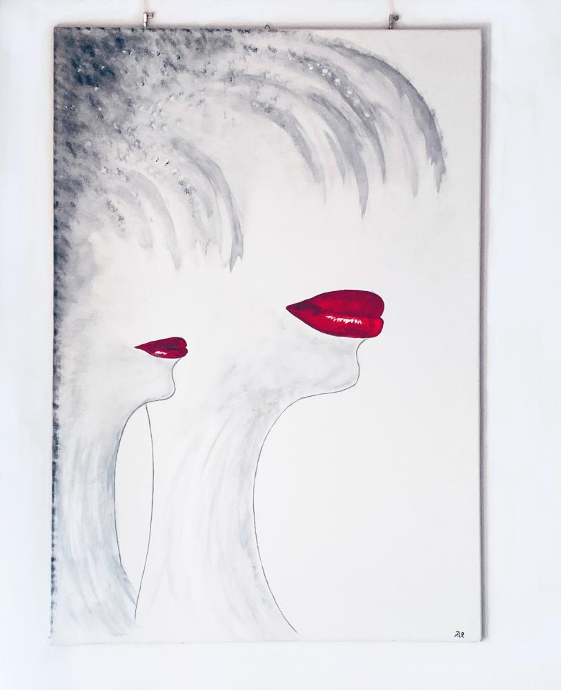 Bocche rosse_70x100_matita carboncino e acrilico su tela _Anno 2011