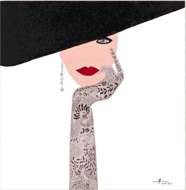 Omaggio a Givenchy_50x50_Acrilico, materico e carboncino su tela_anno 2021